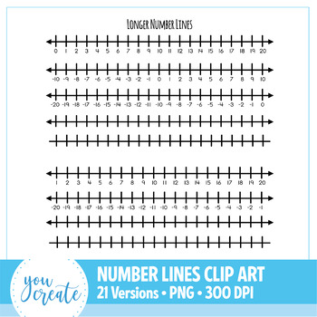 Number Lines Clip Art • 21 Different Versions • 0-10, 1-10, 0-20 and 1-20