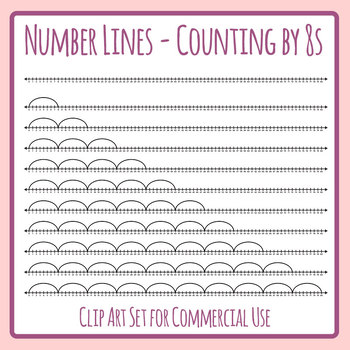 Number Lines - Counting by Eights or Multiplication by 8s Skip Counting Clip Art
