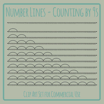 Number Lines - Counting by Nines or Multiplication by 9s Skip Counting Clip Art