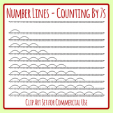 Number Lines - Counting by Sevens or Multiplication by 7s Skip Counting Clip Art