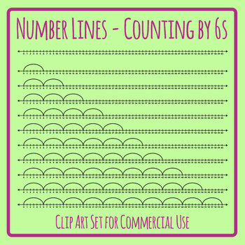 Number Lines - Counting by Sixes or Multiplication by 6s Skip Counting Clip Art