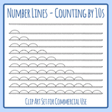 Number Lines - Counting by Tens or Multiplication by 10s Skip Counting Clip Art