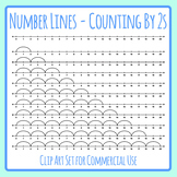 Number Lines - Counting by Twos or Multiplication by 2s Skip Counting Clip Art