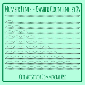 Number Lines - Dashed Counting by Eights or Multiplication by 8s Skip Counting