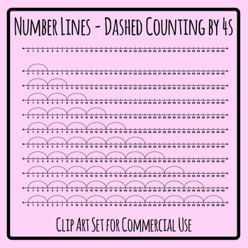 Number Lines - Dashed Counting by Fours or Multiplication by 4s Skip Counting