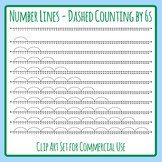 Number Lines - Dashed Counting by Sixes or Multiplication by 6s Skip Counting