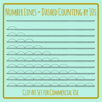 Number Lines - Dashed Counting by Tens or Multiplication by 10s Skip Counting