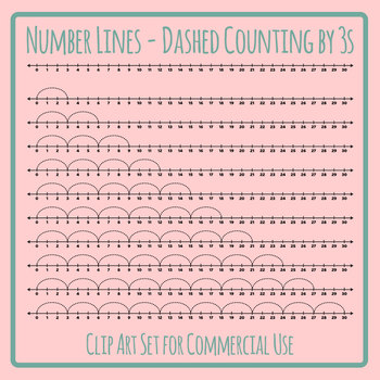 Number Lines - Dashed Counting by Threes or Multiplication by 3s Skip Counting