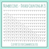 Number Lines - Dashed Counting by Twos or Multiplication by 2s Skip Counting