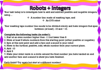 Number Lines, Integers and Robots