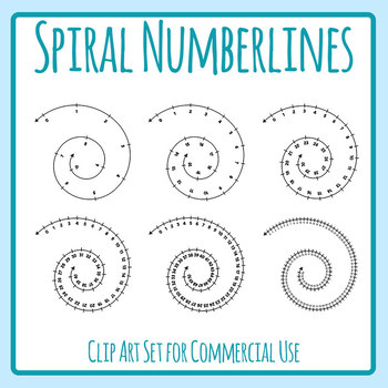 Number Lines Spirals Clip Art Set for Commercial Use