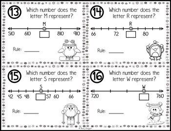 Number Lines Task Cards - Winter Penguins Theme