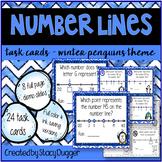 Number Lines Task Cards Winter Penguins Theme