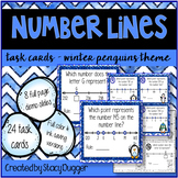 Number Lines Task Cards Winter Penguins Theme