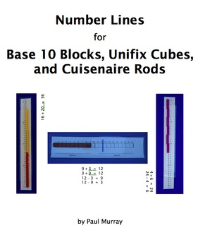 Number Lines for Base 10 Blocks, Unifix Cubes, and Cuisenaire Rods