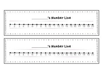 Number Lines from 0-20 (Great for Kindergarten/Grade 1)