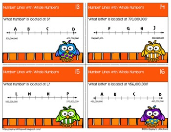 Number Lines through Hundred Millions {Math Task Cards}
