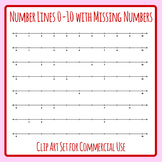 Number Lines to 10 with Missing Numbers Clip Art Set for Commercial Use`