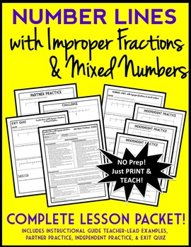 Number Lines with Mixed Numbers and Improper Fractions, Lesson Packet & Quiz