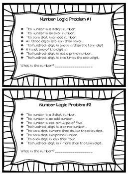 Number Logic Task Cards
