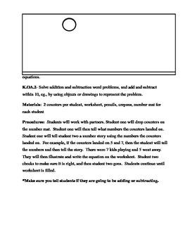 Number Mat- Adding and Subtracting Lesson Plan (K.OA.1 & K.OA.2)