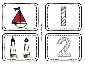 Number Match 1-10  FREEBIE Nautical Theme Color