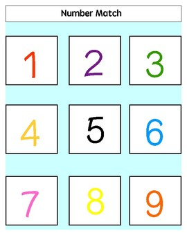 Number Match (1-9) File Folder Games EASY for Autism