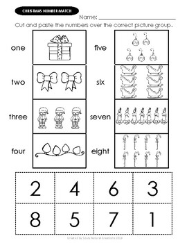 Number Match CHRISTMAS Worksheets