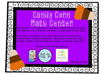 Number Match Candy Corn Center