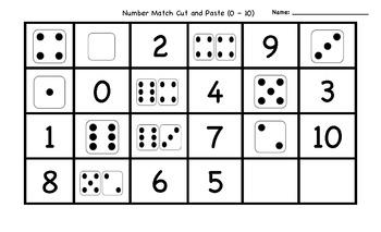Number Match Cut & Paste (0 - 10)