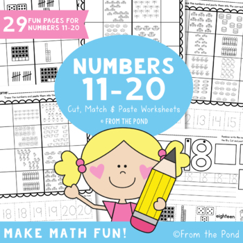 Number Worksheets for 11-20 - Match Cut & Paste