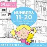 Number Worksheets for 11-20 - Match Cut & Paste