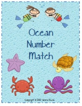 Number Match File Folder Game (OCEAN THEME)