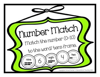 Number Match Flashcards: {0-10 Numbers, Words & Tens Frames}