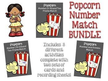 Number Match Math Games BUNDLE - Popcorn theme - Kindergarten