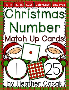 Number Match Up Cards One to One Correspondence CHRISTMAS SANTA Theme {PreK, K}