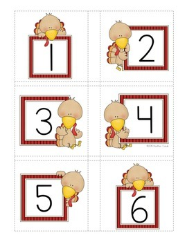 Number Match Up Cards One to One Correspondence TURKEY Theme {PreK, K}