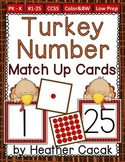 Number Match Up Cards One to One Correspondence TURKEY The