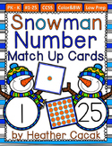 Number Match Up Cards One to One Correspondence WINTER SNOWMAN Theme {PreK, K}