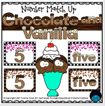 Number Match Up Chocolate and Vanilla Ice Cream Math Center