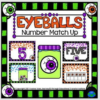 Number Match Up Halloween Eyeballs