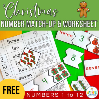 Number Match Up and Worksheet - Christmas