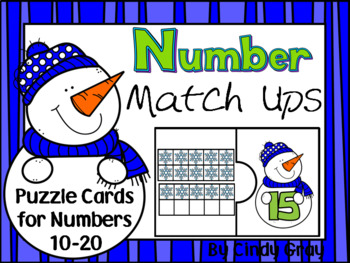 Number Match Ups ~ Snowmen Puzzles 10-20 ~ Ten and Some More