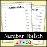Number Match Worksheets #1-50