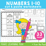 Numbers 1-10 Cut Paste Worksheet Activities