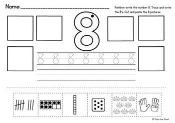 Numbers 1-10 Cut Paste Worksheet Activities