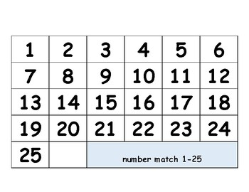 Number Match to Word 1-10 & 1-25