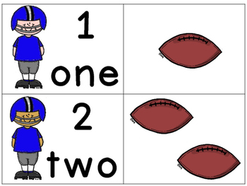 Number Matching 0-10: Football Themed