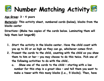 Number Matching Activities