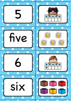 Number Matching Cards for the numbers 1 to 10